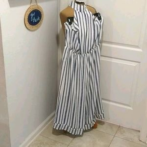 New York & Co Striped Jumpsuit
